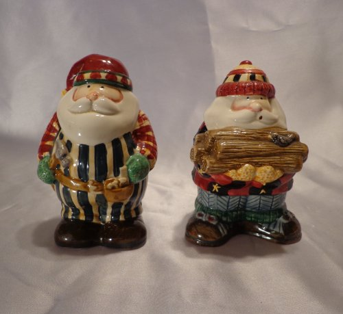SALT AND PEPPER SHAKER ~ WOODLAND SANTA Debbie Mumm