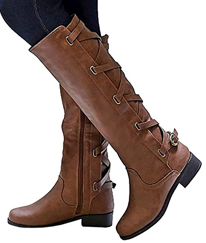 Womens Riding Boot Winter Knee High Lace Up Faux Leather Criss Cross Strap Buckle (Buckle Strap Knee High)