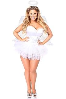d660f1888 Amazon.com  Daisy Corsets Women s Lavish Plus Size 4 Pc White Angel ...