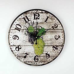 Moonluna Retro Bunches of Grapes Wooden Wall Clock for Women Silent Clock Wall Decor for Living Room Bedroom 16 inch
