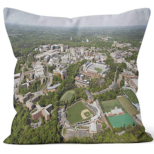 University of North Carolina Aerial View Burlap Pillow Home Decor Throw Pillow Cover Cotton Linen Cushion,HD Printing for Couch Sofa Bedroom Livingroom Kitchen Car,40