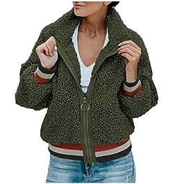 Kanpola Women Warm Zipper Pockets Flannel Long Sleeve Sweatshirt Pullover Coat Outwear