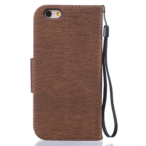LuckyW [Scratch Resistant, Dustproof, Shockproof, huella dactilar] Caja de Teléfono para Apple iPhone 6 Plus (5.5 pulgadas) TPU Backcover Flip Folio cartera Bookstyle caso ligero flexible funda de par marrón