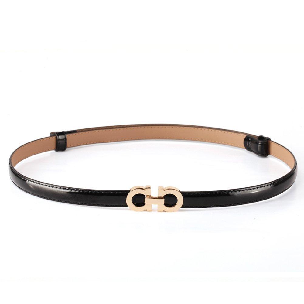 MoYoTo Women's Stylish Thin Patent Leather Gold Skinny Waist Belts For Dresses (Black)