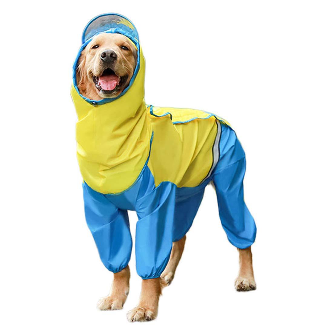 MYTMCW Pet Dog Raincoat Breathable Waterproof Dog Hooded Jumpsuit Raincoat for Dogs Pet Cloak Labrador Waterproof Golden Retriever Jacket,Blue,3XL