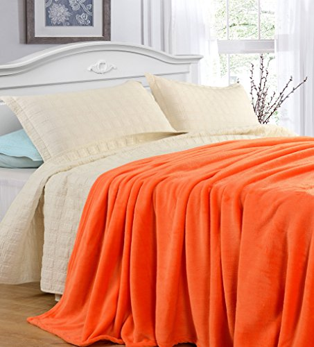 Grand Linen King Size Orange Cozy-Flannel Thermal Blanket - Snuggle in These Super Warm Bed Blanket. Easy Care and Extra Soft Fabric