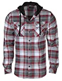 9 Crowns Men's Lightweight Hoodie Plaid Flannel Shirt-Red/Charcoal-L