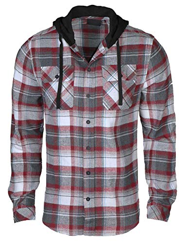 9 Crowns Men's Lightweight Hoodie Plaid Flannel Shirt-Red/Charcoal-L (Dress Flannel For Shirts Men)
