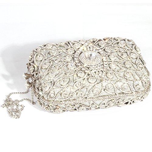 Rectangle Eyes Whitet Purses Clutch Rhinestone Silver women Retro Shape Plated Crystal Bags Digabi Evening Crystal q4dtxnw