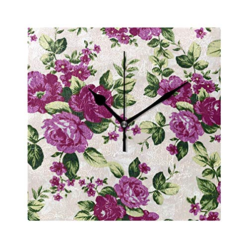 (Ladninag Wall Clock Floral Pattern New Silent Non Ticking Decorative Square Digital Clocks Indoor Outdoor Kitchen Bedroom Living Room)