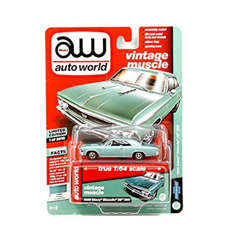 New DIECAST Toys CAR AUTO WORLD 1:64 Premium Hobby Exclusive - 1966 Chevrolet Chevelle SS 396 (Artesian Turquoise Poly) AWSP012