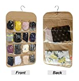 Honla Dual-Sided Hanging Closet Organizer with 18 Clear Vinyl Storage Pockets&Rotating Metal Hanger-Cool Space Saving Holder Solution Ideas for Stockings/Socks/Underwear/Jewelry Organization,Brown
