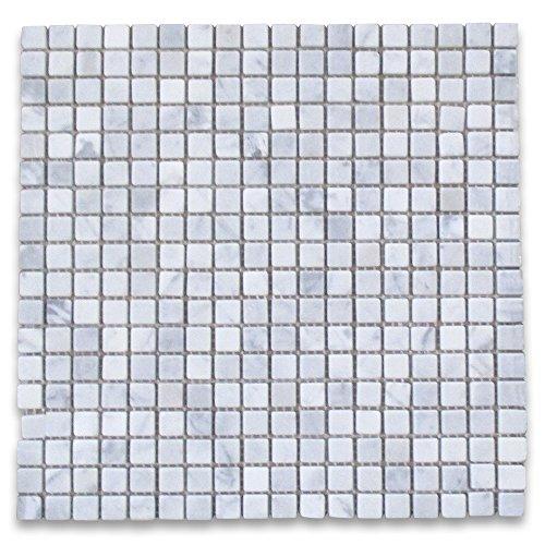 Carrara White Italian Carrera Marble Square Mosaic Tile 3/8 x 3/8 Tumbled