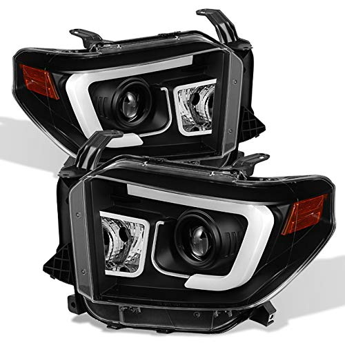 For 2014-2017 Tundra Pickup Black Bezel 3D DRL Daylight LED Strip Projector Headlights Front Lamps Pair