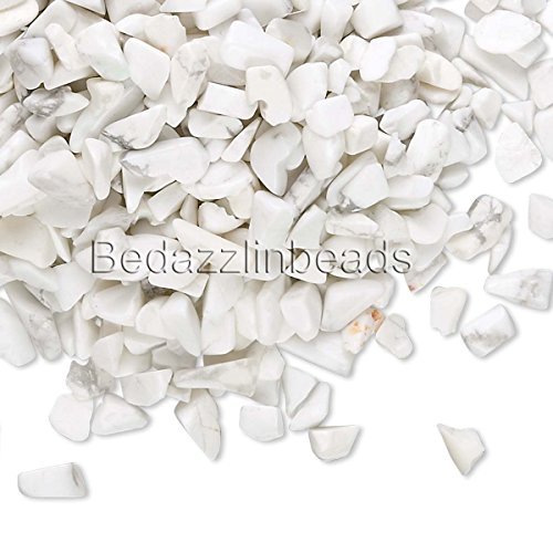 White Howlite Chip - 50 Grams Small Undrilled Gemstone Embellishment Chip Pieces (White Howlite)
