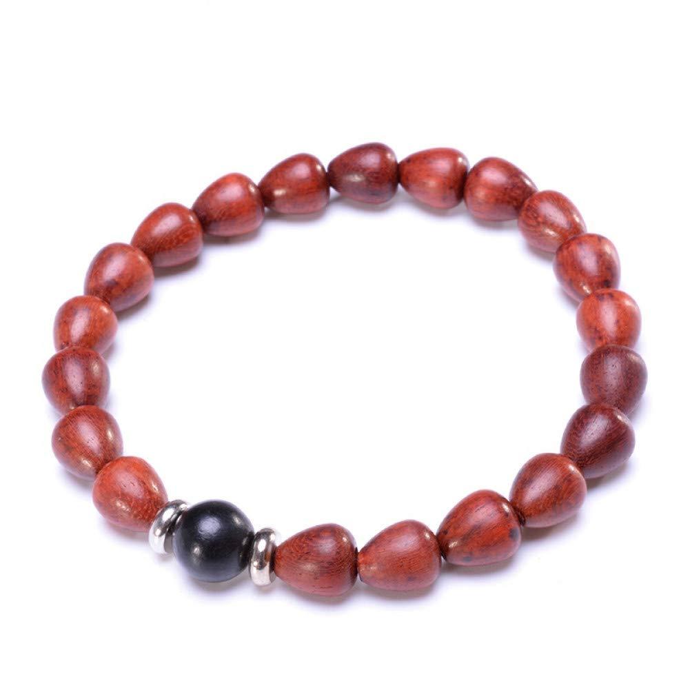 TDPYT 2Pcs / Braccialetto di Yoga del Branello di Legno per Le Perle Rosse Naturali del Sandalo delle Donne E Monili d\'Argento di Meditazione di Stile Cinese d\'Argento Tibetano