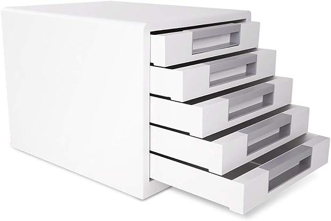 FPigSHS Archivadores de fichas Archivadores de Escritorio Caja de Almacenamiento Muebles de Oficina gabinete de Archivo 5 cajones de plástico con cajón de Alta Capacidad: Amazon.es: Hogar