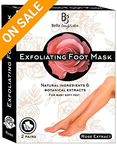 Foot Peel Mask 2 Pack for Smooth Soft Touch Feet - Peeling Away Calluses - Dead Skin Remover - Exfoliating Off Foot Mask for Baby Soft Silk Feet - Gel Socks Booties - Aloe Extract - Natural Rose Scent by Bella Beauty Labs