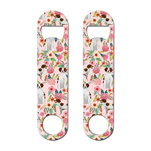BEUJDWAQ 2 PACK Stainless Steel Heavy Duty Brittany Dog And Florals Cool Soda Wine Beer Flat Bottle Opener Keychain For Bar Restaurant Home