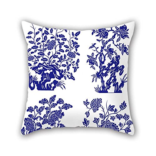 Chinese Style Blue And White Porcelain Cushion Covers 18 X 18 Inches / 45 By 45 Cm For Her Office Kitchen Car Seat Lounge Home Office With Twice Sides