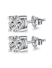 CZ Stud Earrings 18K White Gold Plated Women's Sterling Silver Simulated Diamond Round Cubic Zirconia Ear Studs for Girls