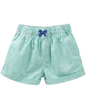 Canvas Pull-On Shorts Green Bow-9 Months