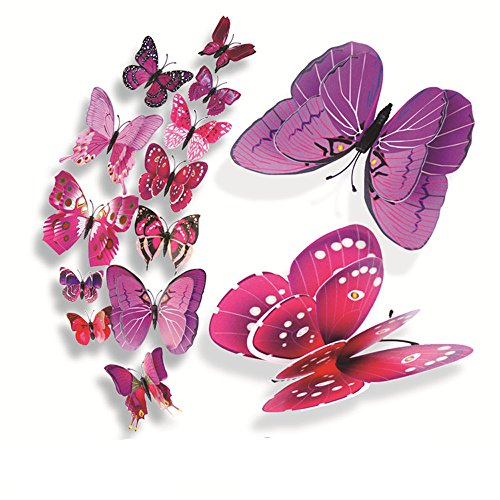 Sacherron Tech Wall Sticker 12x 3D Butterfly Wall Sticker Fridge Magnet Room Decor Decal Applique Double Layer Butterfly Wall - Layer Inkjet