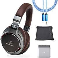 Audio-Technica ATH-MSR7GM Gunmetal Grey SonicPro Over-Ear High-Resolution Audio Headphone Bundle with Carrying Case, FiiO A1 Portable Amplifier and Blucoil 6-feet Extender