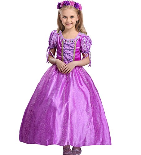 Girls' Purple Princess Dress up Cosplay Fancy Party Outfit Costume for Christmas Halloween 7-9 years old