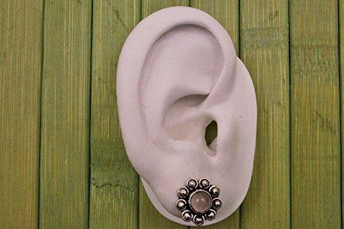 Boucles d'oreilles plaqué argent avec quartz rose Ø 12 mm