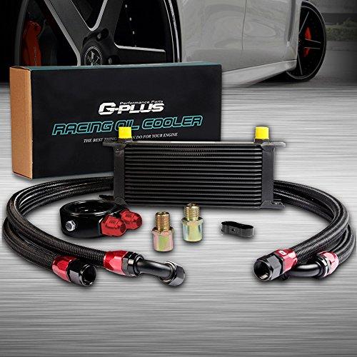 Engine Oil Cooler Kit - 16 ROW AN10 Universal Engine Transmission Oil Cooler Kit+Filter Adapter Hose Kit