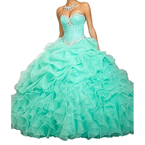 Angela Womens Sweetheart Beads Ball Gown Organza Quinceanera Dresses Prom Party Dresses (12, Mint Green)