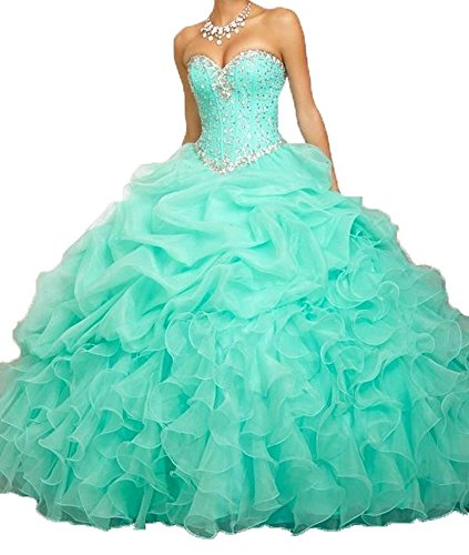 Angela Women's Sweetheart Beads Ball Gown Organza Quinceanera Dresses Prom Party Dresses (14, Mint Green)