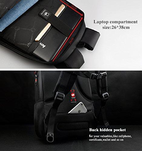 kopack Laptop Backpack Slim Computer Travel Bag Anti Theft Water Resistant 15.6 Inch Black KP492 by kopack (Image #4)