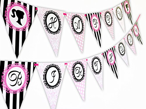 Glamour Girl Happy Birthday Banner Pennant]()