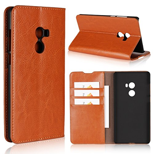 Xiaomi Mix 2 Wallet Case, Jaorty Genuine Leather Folio Flip Full Body Case Cover Book Design with Kickstand Feature with Card Slots/Cash Compartment for Xiaomi Mix 2 - Light ()