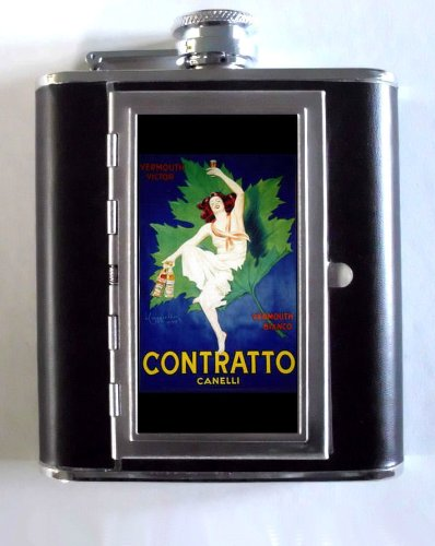 Italy Wine Sweet Vermouth Girl 5oz Flask Cigarette Case ID (Whiskey Sweet Vermouth)