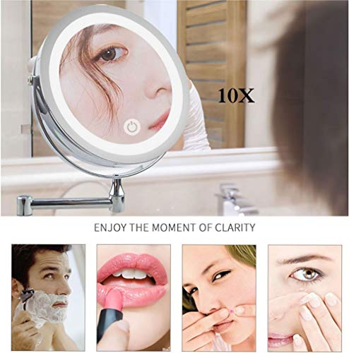 YUXX Bathroom Mirror Wall Mounted Makeup Mirror 8-inch Two-Sided 10X Magnification LED -