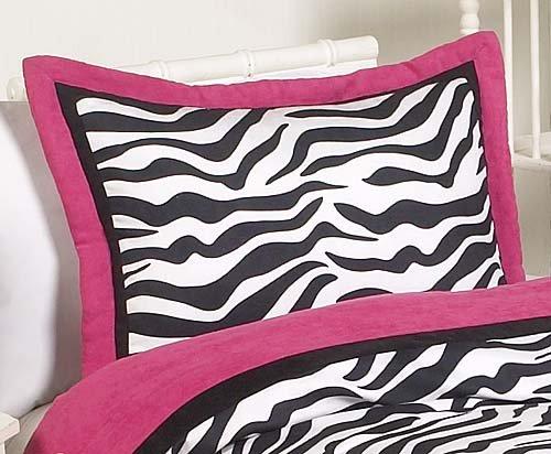 Sweet Jojo Designs 4-Piece Hot Pink, Black & White Funky Zebra Children's and Kids Bedding Girls Twin Set