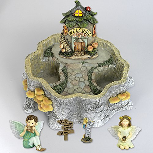 Light-Up House Fairy Garden Planter Set -  Includes Two (2) Fairies