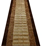 Custom Size Leaves Hallway Runner Rug Slip Resistant, 26 Inch Wide x Your Choice of Length Size, Brown, 26 Inch X 12 Feet, Sold and Priced Per Foot