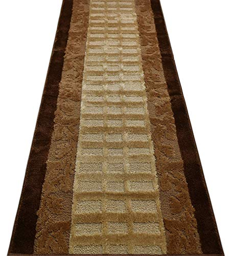 Custom Size Leaves Hallway Runner Rug Non-Slip (Slip Resistant) Rubber Back, Anti-Bacterial, 26 Inch Wide x Your Choice of Length Size Many Color Options, Emerald Collection, Brown, 26 Inch X 31 feet