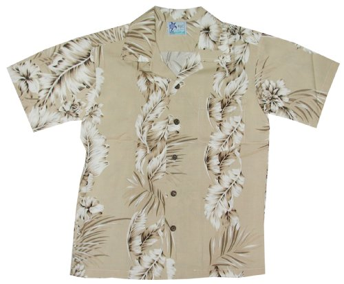 RJC Boys Fern Leaf Garden Rayon Shirt Khaki 16 by RJC