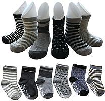 12 Pairs Non Skid Ankle Cotton Socks Baby Walker Boys Girls Toddler Anti Slip Stretch Knit Stripes Star Footsocks...