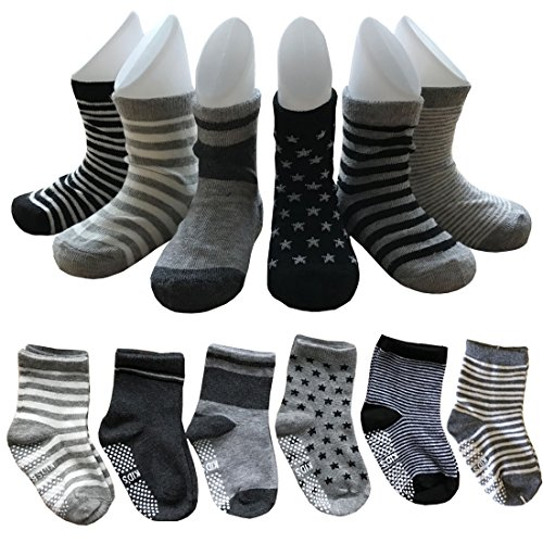 6-Pairs-Assorted-Non-Skid-Ankle-Cotton-Socks-Baby-Walker-Boys-Girls-Toddler-Anti-Slip-Stretch-Knit-Stripes-Star-Footsocks-Sneakers-Crew-Socks-with-Grip-for