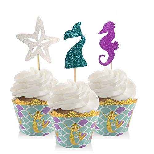 - 48 Piece Mermaid Cupcake Toppers with Wrapper Set Perfect for Mermaid Theme Party Baby Shower Birthday party