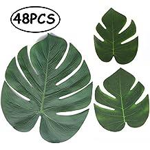 Tropical Palm Leaves Plant Imitation Leaf-Hawaiian/ Luau/Jungle Party Table Decorations (48PCS)