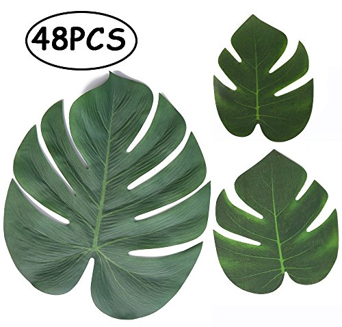 Price comparison product image Moon Boat Tropical Palm Leaves Plant Imitation Leaf-Hawaiian/ Luau/Jungle Party Table Decorations (48PCS)