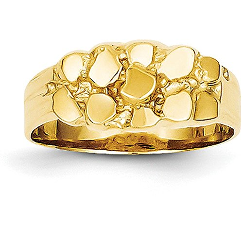 14k Yellow Gold Nugget Ring (8mm Width) - Size 7 (Yellow Gold Nugget Ring)