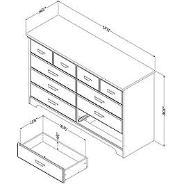 South Shore Versa 8-Drawer Double Dresser, Gray Maple